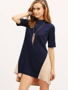 Royal Blue And Apricot Crew Neck Dress