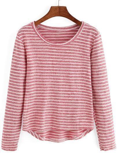 Red Round Neck Striped Dip Hem T-Shirt
