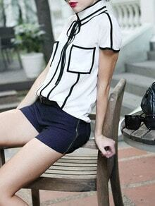 White Short Sleeve Contrast Trims Chiffon Blouse