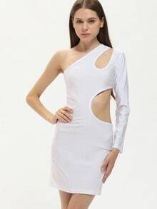 White One Shoulder Skinny Sexy Dress