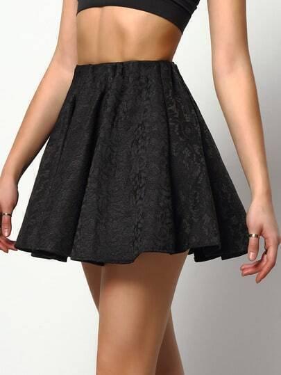 Black High Waist Lace Flare Skirt
