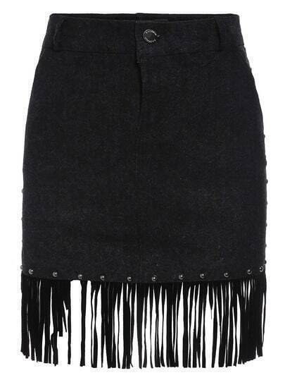 Black Tassel Denim Skirt