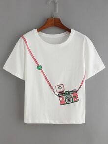 White Short Sleeve Camera Print T-Shirt
