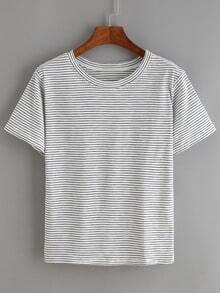 Navy White Short Sleeve Striped T-Shirt