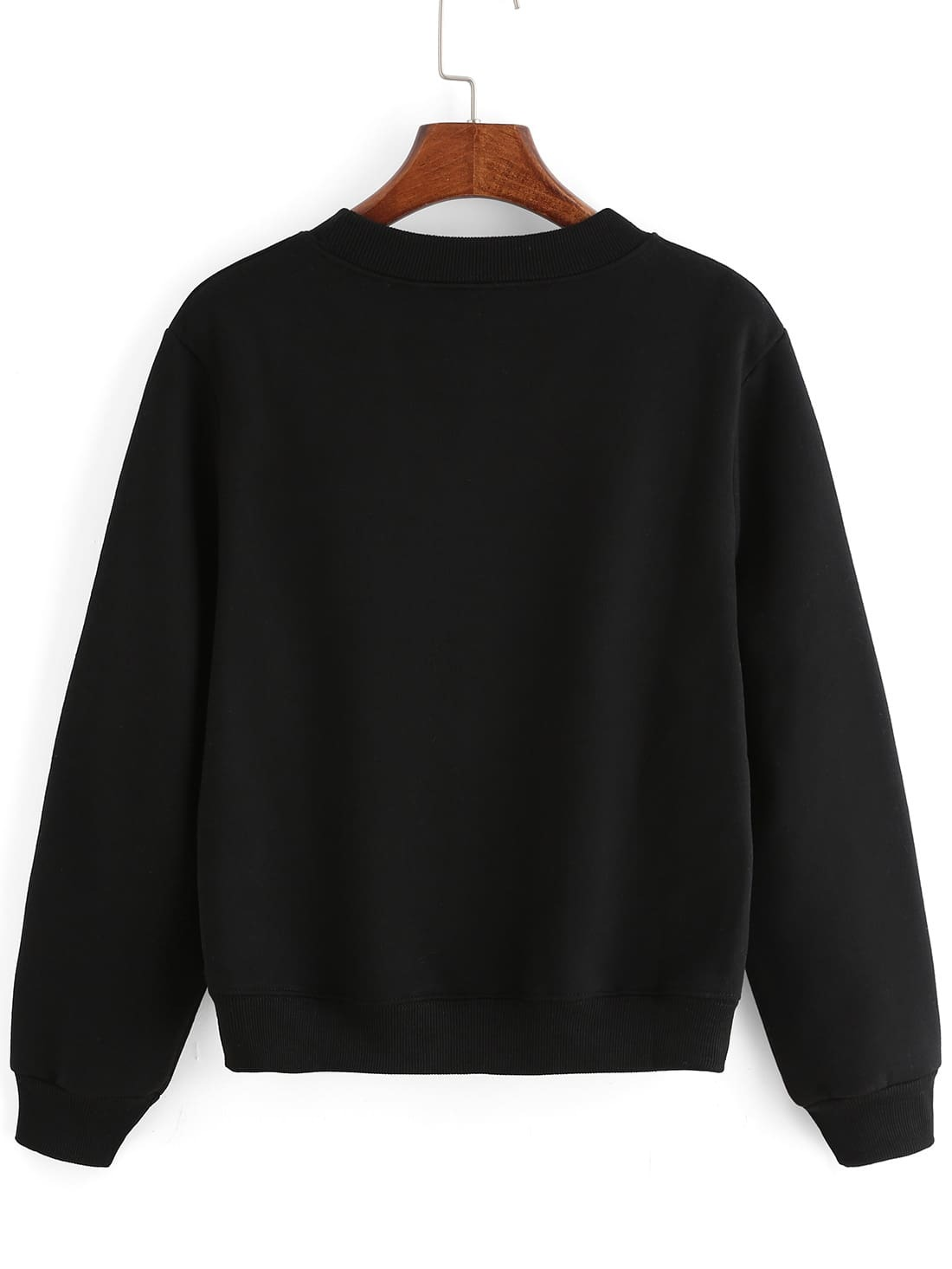 Black crew neck letters print crop sweatshirt shein for Letters for sweatshirts