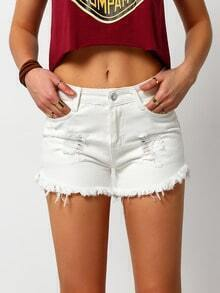 White Ripped Fringe Denim Shorts