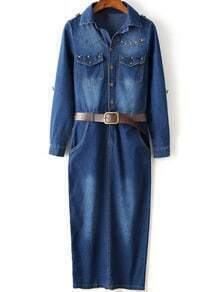 Navy Bleached Rivet Split Denim Dress