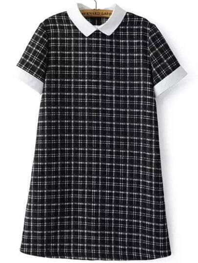 Black White Short Sleeve Plaid Dress