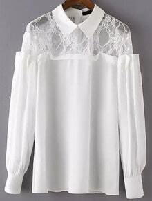 White Long Sleeve Sheer Lace Blouse