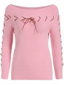 Pink Boat Neck Lace Up Knitwear