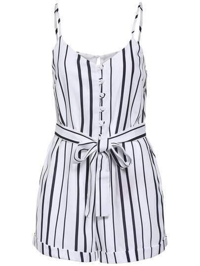 White Black Spaghetti Strap Vertical Stripe Jumpsuit