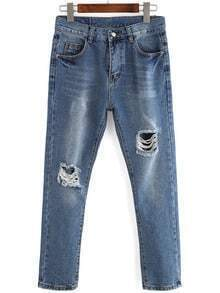 Blue Bleached Ripped Denim Loose Pant