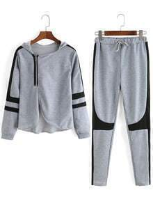 Grey Hooded Long Sleeve Zipper Top With Pant