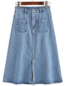 Blue Pockets Split A Line Denim Skirt