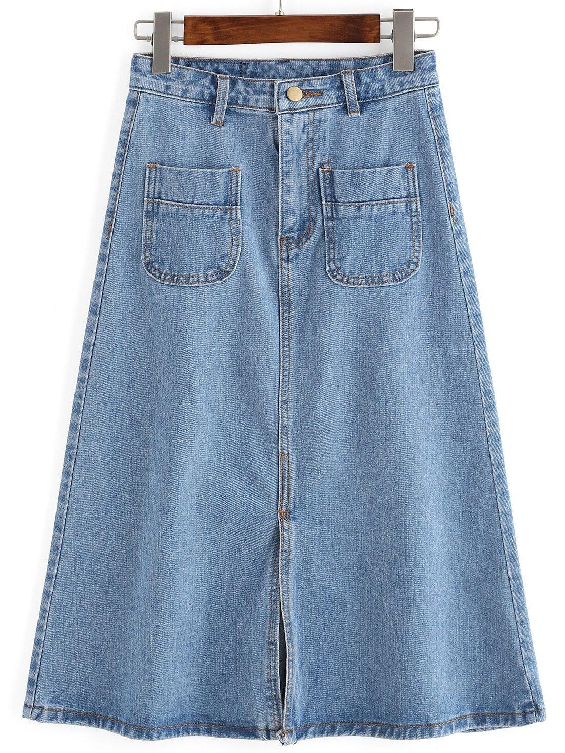 blue pockets split a line denim skirt shein sheinside