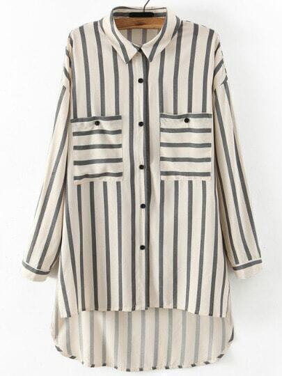 Grey White Vertical Stripe Pockets Blouse