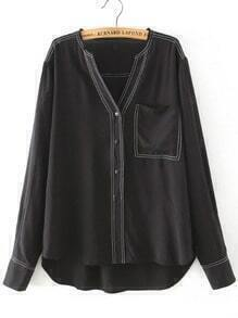 Black V Neck Pocket Loose Blouse