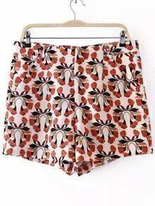 Short à motif fleuri avec poche -multicolore