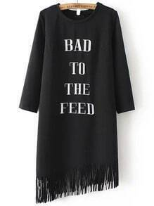 Black Round Neck Letters Print Tassel Dress