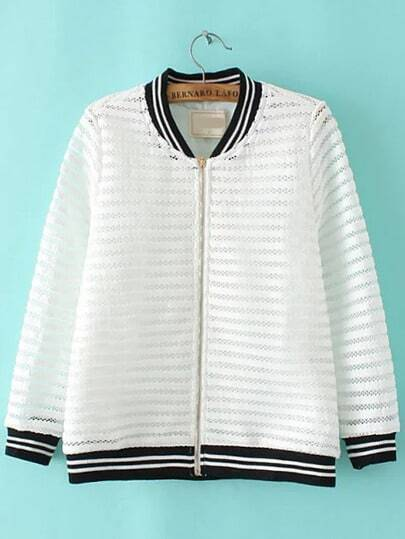 White Stand Collar Hollow Striped Jacket