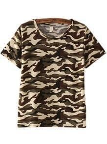 Army Green Short Sleeve Camouflage T-Shirt