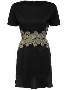 Black Short Sleeve Hollow Lace Patch Dress