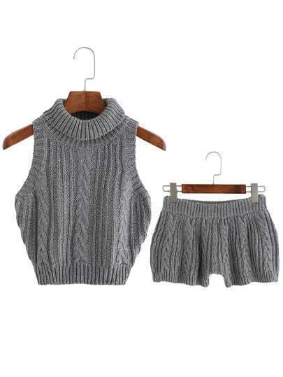 Grey Cable Turtleneck Crop Sweater With Shorts