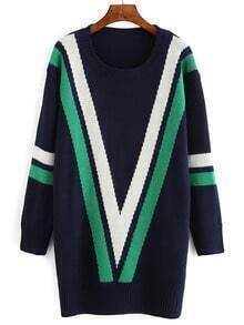 Navy Geometry Color Block Pullover Sweater