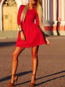 Red Round Neck Slim Flare Dress