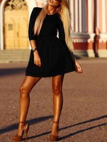 Black Round Neck Slim Flare Dress