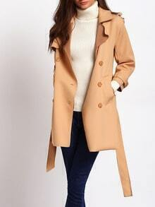 Camel Double-breasted Lapel Outerwear With Belt