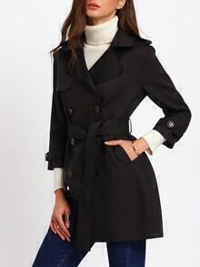 Black Double Breasted Lapel Coat With Belt