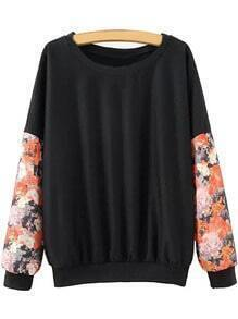Black Floral Splicing Pullover Sweatshirt