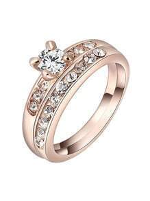 Rose Gold Diamond Ring Sets With White Zircon Crystal