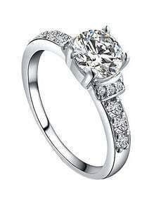 White Gold Plated Platinum Diamond Ring