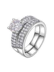 Platinum Diamond Ring Sets With White Zircon Crystal