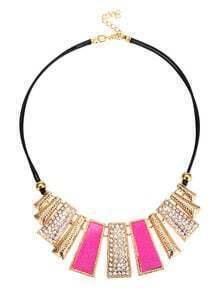 Pink Gothic Geometric Shape Rhinestone Pendant Necklace