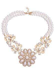 Crystal Pearl Flower Necklace