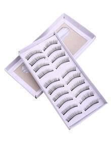 10 Pairs Natural Long Straight False Eyelashes