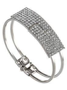 Silver Crystal Cuff Bangle Bracelet