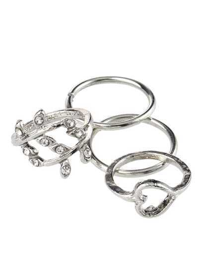 Silver Plated Rhinestone Leaf Heart Joint Rings of 4 pcs