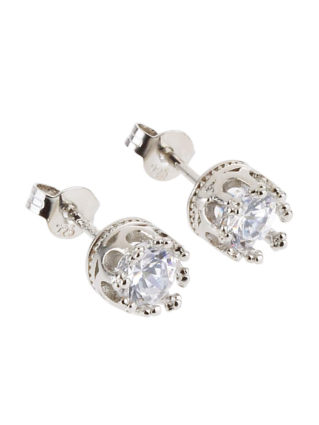 Фото Silver Plated Rhinestone Crown Stud Earrings. Купить с доставкой