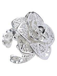 Silver Plated Three Layered Flower Openwork Ring