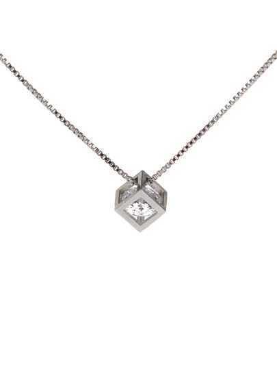 White Diamond Love Rubik Pendant Necklace