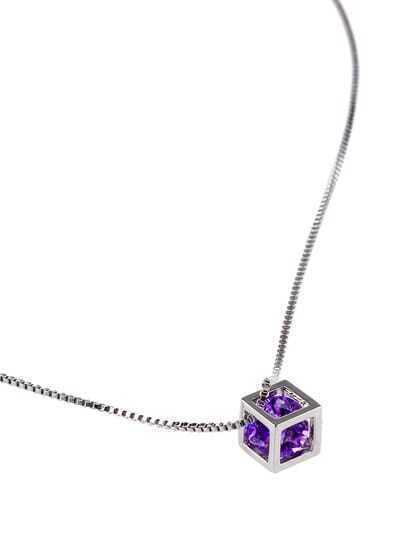 Purple Diamond Love Rubik Pendant Necklace
