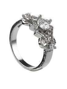 Silver Rhinestone Belt Shape Ring