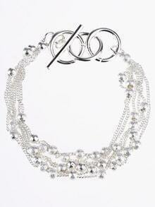 Silver Beaded Bangle Bracelet