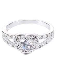 Silver Crystal Heart Shaped Love Wedding Ring