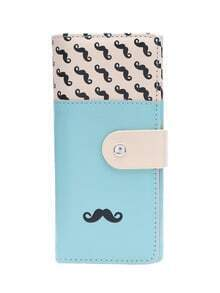 Lake Blue Smooth PU Leather Mustache Wallet