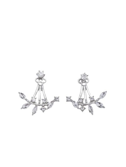 Silver Plated Leaf Crystal Double Sided Swing Stud Earrings